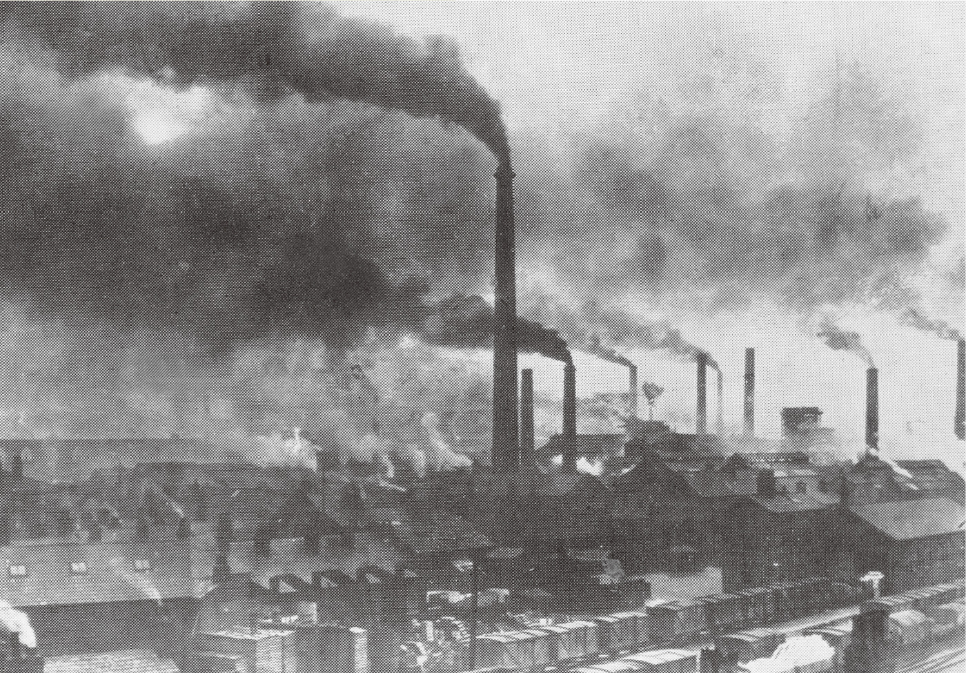 Photograph of Widnes in the late 19th century showing the effects of industrial pollution